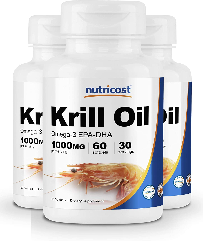 Nutricost Krill Oil 1000mg; 60 Liquid Softgels (3 Bottles) - Omega-3 EPA-DHA