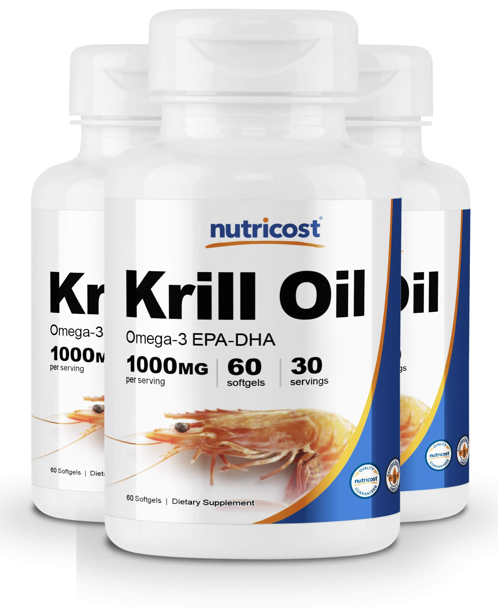 Nutricost Krill Oil 1000mg; 60 Liquid Softgels (3 Bottles) - Omega-3 EPA-DHA by Nutricost