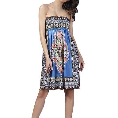 8638a0fde0c1 SJINC Women s Summer Dress Casual Floral Printed Strapless Resort Beach  Sundress Blue Tag size M