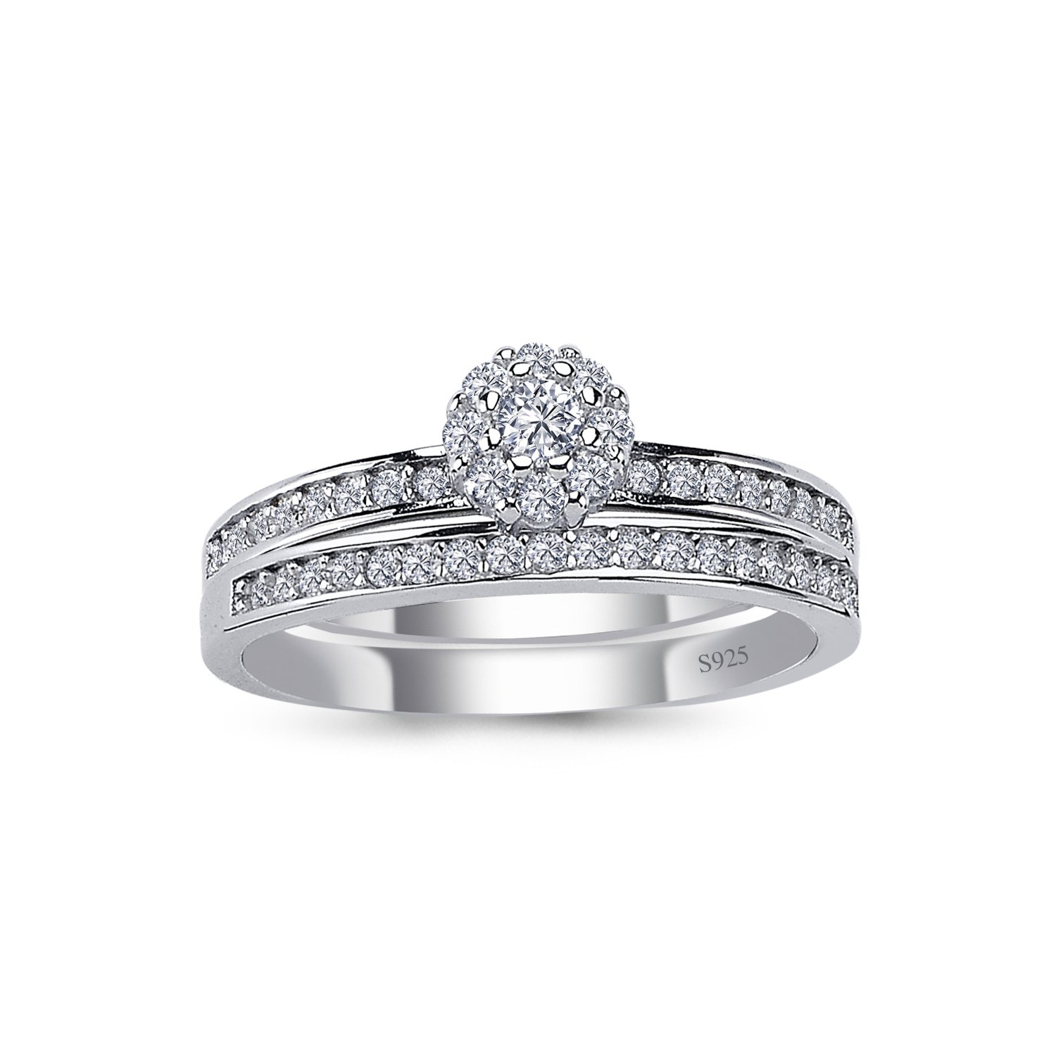 925 Solid Sterling Silver Cushion Halo AAAAA+ Gem Grade Quality ROUND BRILLIANT Cut 2 Pieces RING Set,Bridal Sets Anniversary Promise Engagement Wedding CZ Rings Comfort Fit and Rhodium Plated by CHIARA (Image #1)