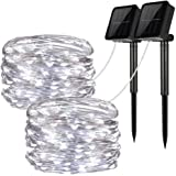 Solar String Lights, 2 Pack 100 LED Solar Fairy Lights 33 ft 8 Modalità Filo di rame Luci Esterne String Lights per Garden Patio Gate Yard Party Wedding Camera da letto interna (Cool White)