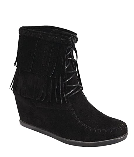120d31cb39ada Image Unavailable. Image not available for. Color: Women's Two Layered Tassel  Fringe Lace Up Ankle Wedge Bootie ...