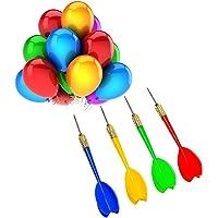 NOVSIX 24 Pièces Pointe en Acier Fléchetes de Ballons en Plastique,Parfait pour Faire la Fête, Le Jeu, Le Carnaval
