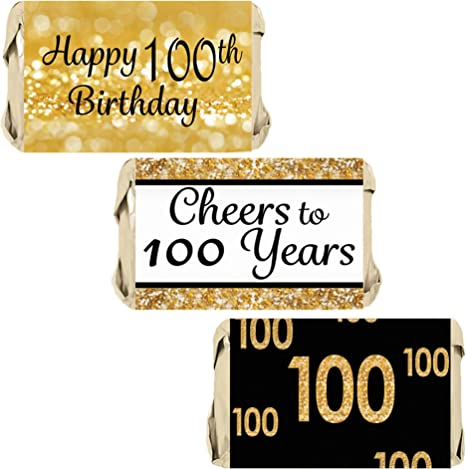 DISTINCTIVS Black and Gold 100th Birthday Party Favor Labels 216 Stickers