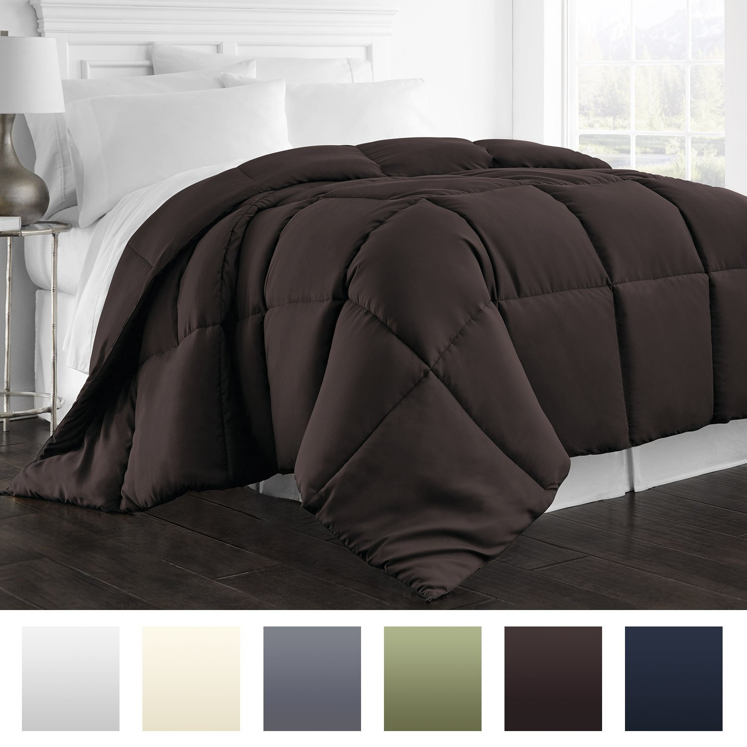 Beckham Hotel Collection 1800 Series - All Season - Luxury Goose Down Alternative Comforter - Hypoallergenic - Full/Queen - Chocolate