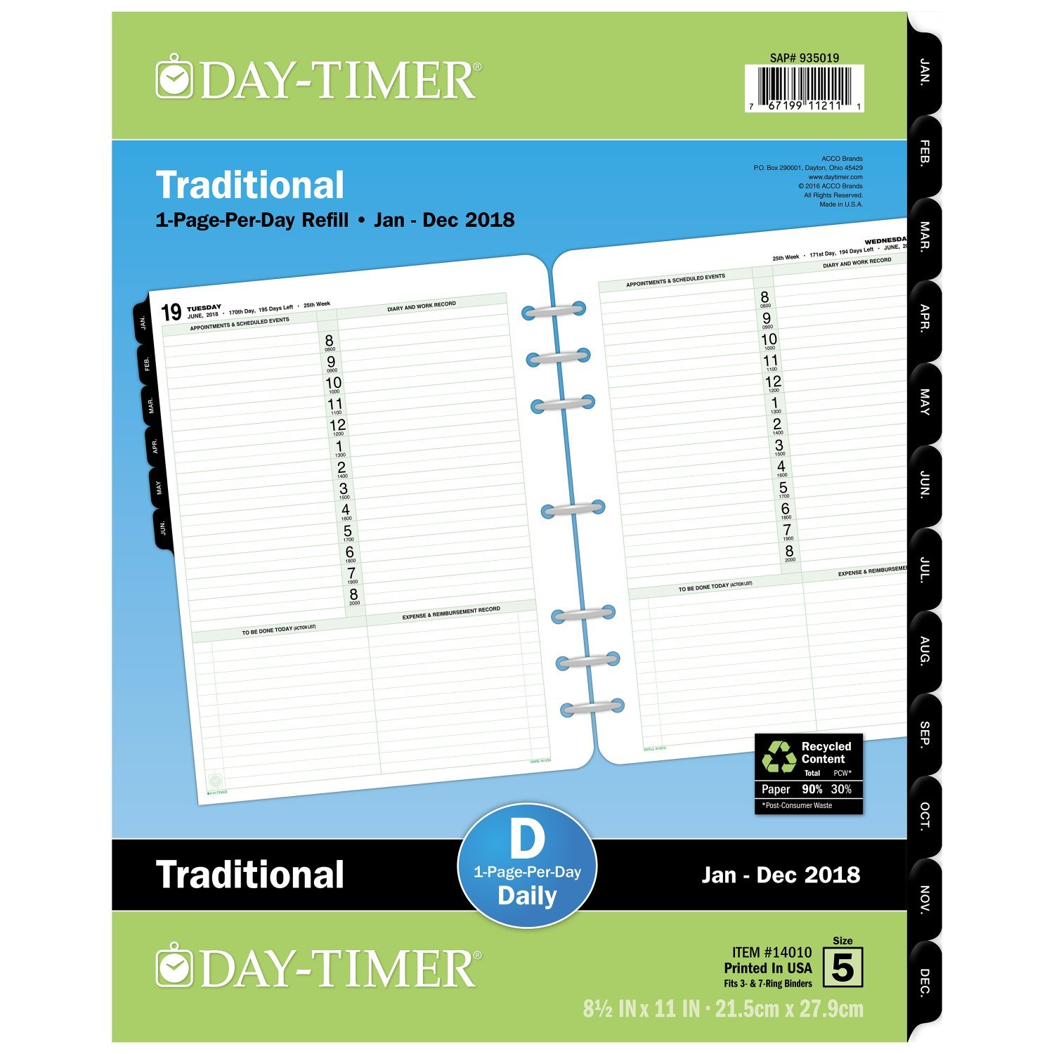 Day-Timer Refill 2018, One Page Per Day, January 2018 - December 2018, 8-1/2 x 11, Loose Leaf, Folio Size, Classic (14010-1801) 8-1/2 x 11 ACCO Brands