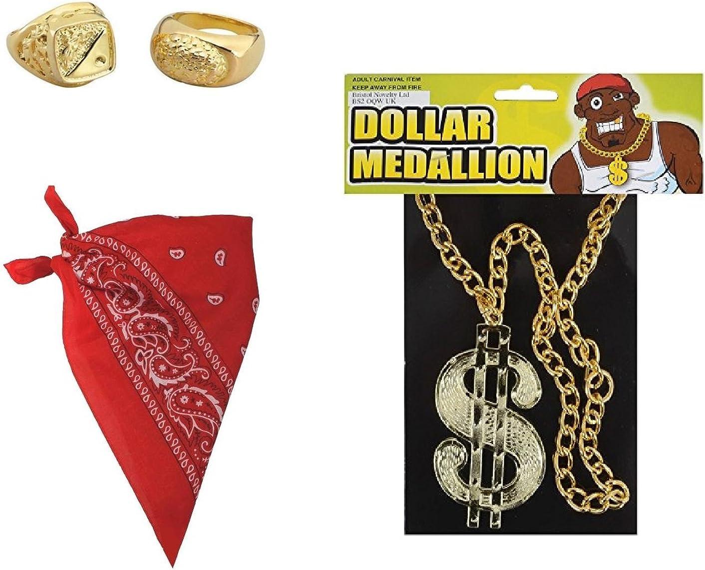 3 IN 1 DOLLAR RAPPER RING FANCY DRESS MENS PIMP