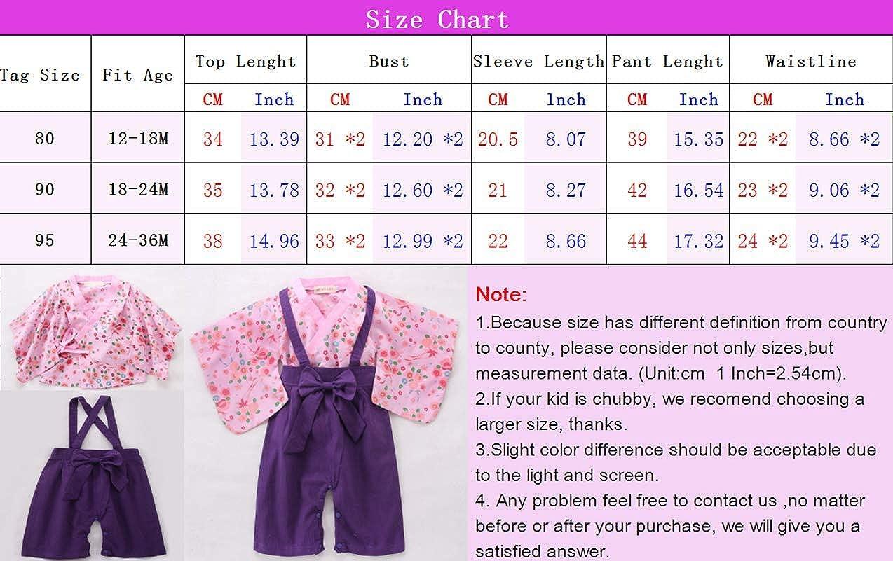 Kleinkind Lange /Ärmel Robe M/ädchen Japanischen Stil Outfits zhbotaolang Baby Kimono Spielanzug Baumwolle Jumpsuit