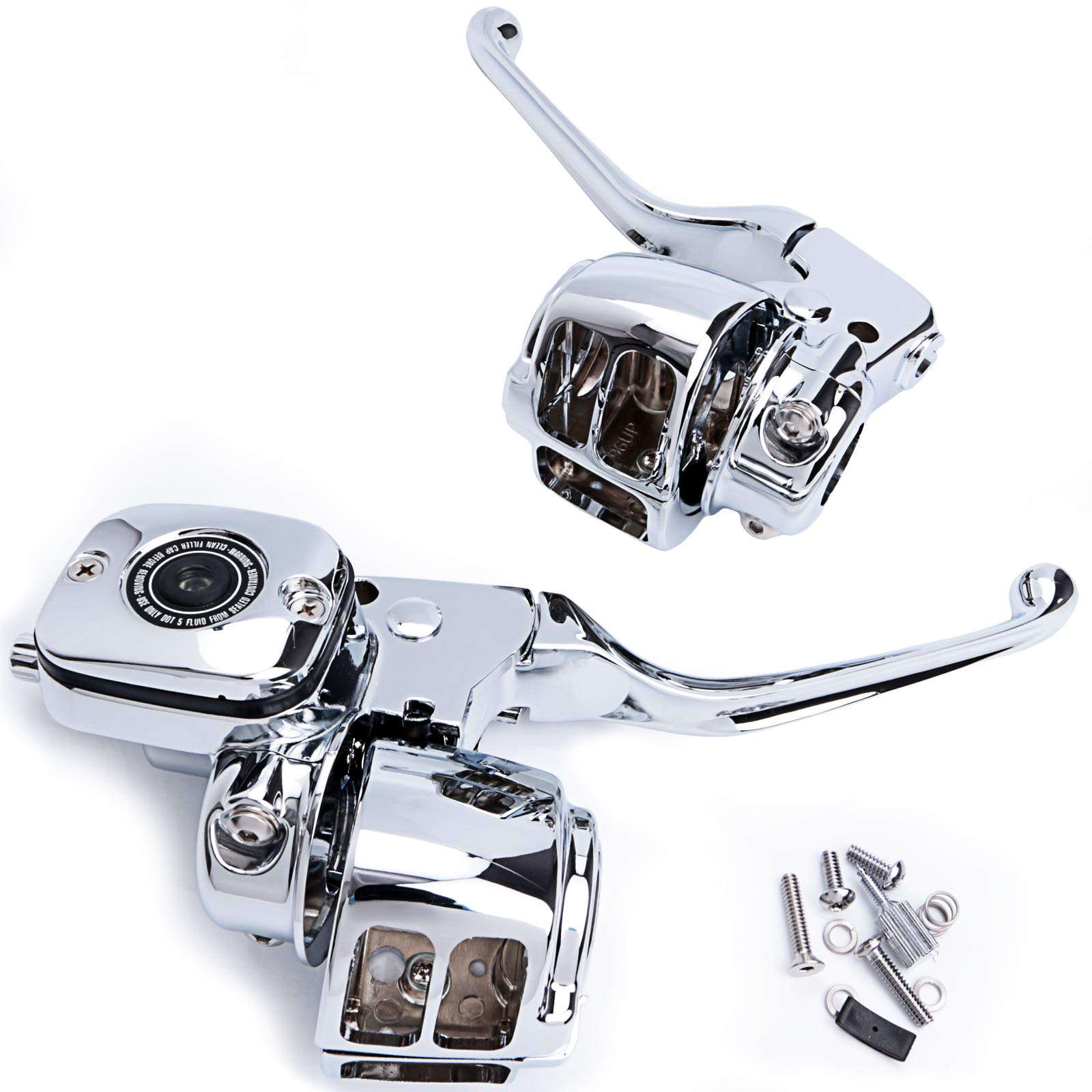 Handlebar Hand Control Kit 9/16 Inch Bore Master Cylinder for 96-06 Harley-Davidson Softail FXSTSB 22-0820 (Chrome) by Chern Yueh