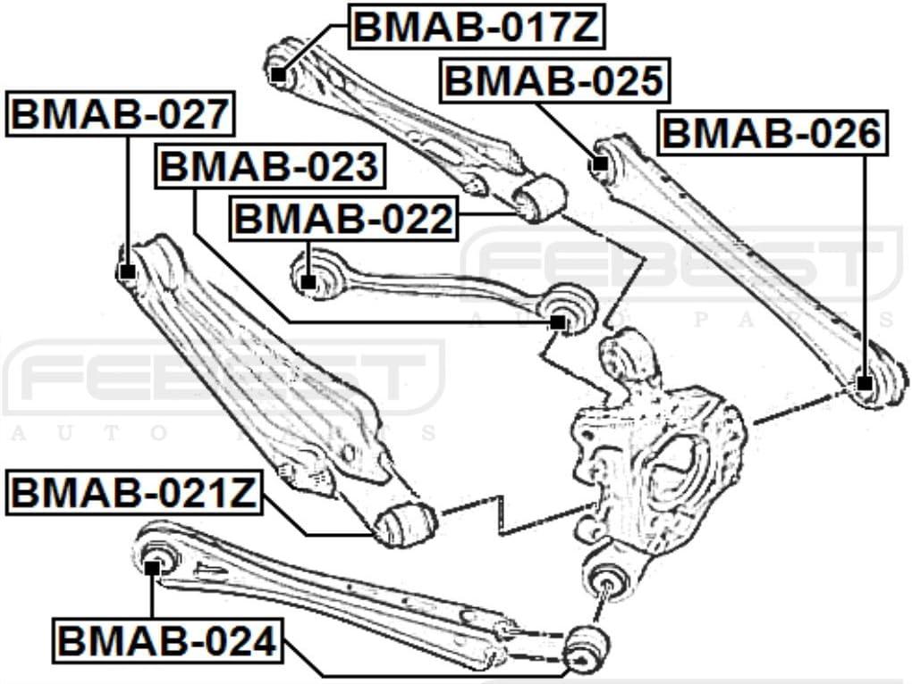 1 YEAR WARRANTY Febest # BMAB-021Z Arm Bushing Rear Assembly 33326790493