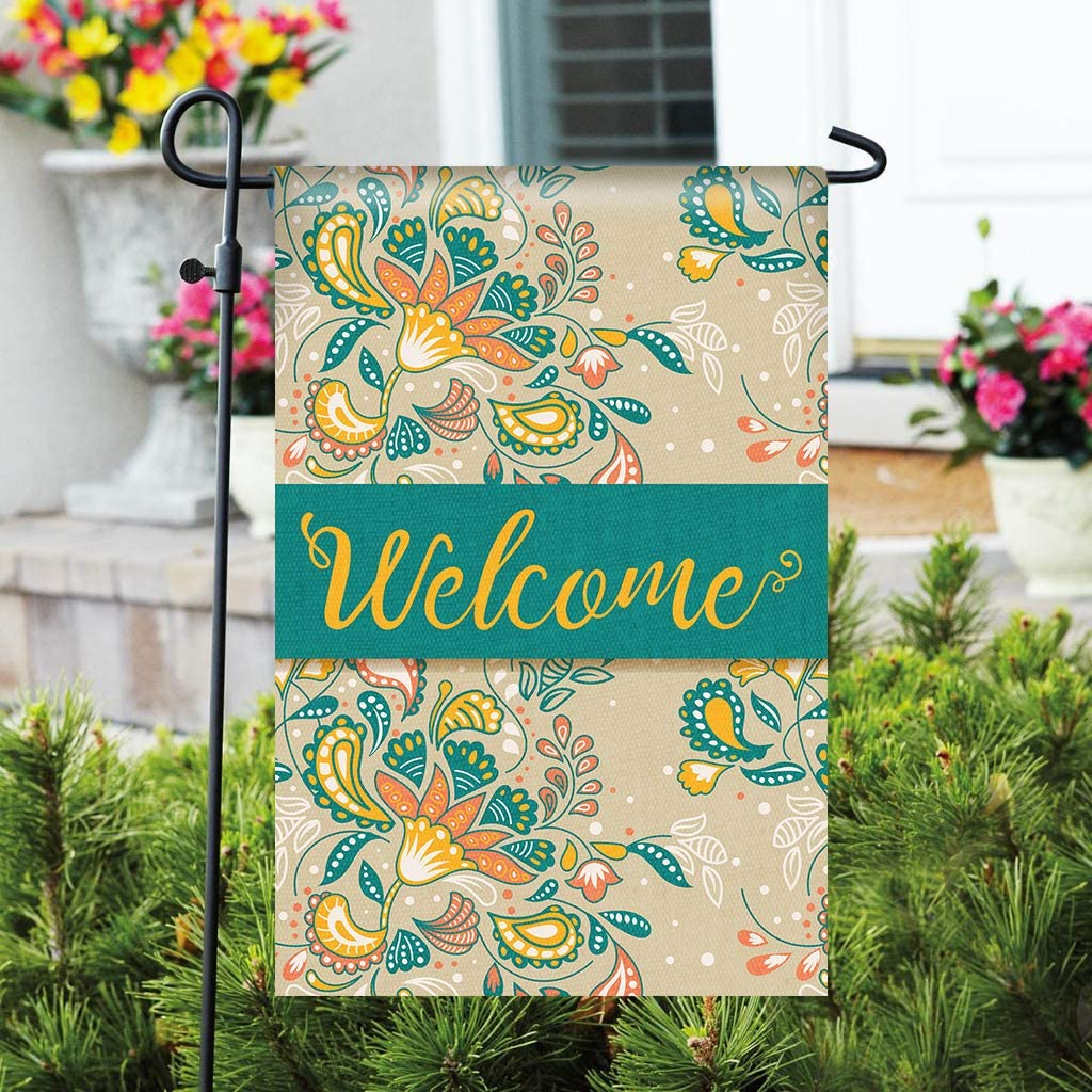 "Welcome Garden Flag - 12"" x 18"" Durable Double-Sided Outdoor Flag - Decorative Small Garden Flag - Great for Patio Decorations & Entryway Decor (Flag Stand Not Included)"
