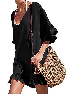 1b154d2571718 Golden life Women's Cotton Bathing Suit Swimwear Beach Cover Ups Summer  Dress