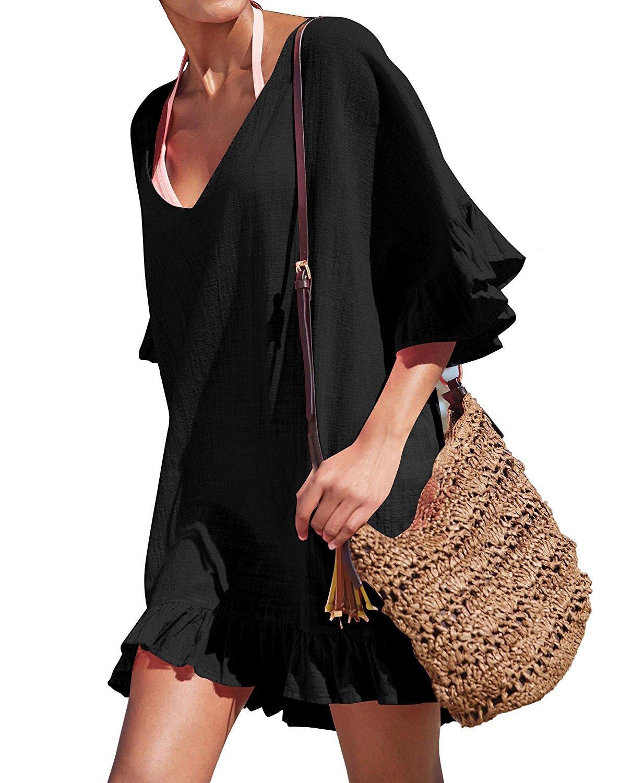 Luckygogo Women's Bikini Cover Up Summer Beach Wear Cover up Women Ruffle Summer Dress Swimsuit (Black, Free Size)