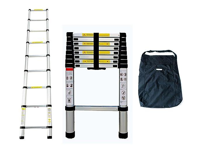 Leogreen - Escalera Telescópica, Escalera Extensible, 2,6 Metro(s), Bolsa de transporte GRATIS, EN 131, Carga máxima: 150 kg, Distancia entre los peldaños ...