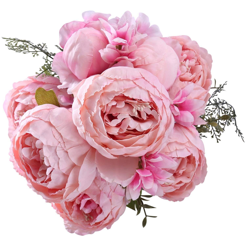 Maylife フェイク牡丹ブーケ シルクバラ ウェディング装飾 春の造花 (スプリングライトピンク) B07GJGZJKR