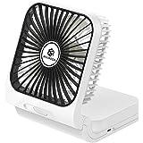 Wsiiroon USB扇風機 卓上 オフィス 18650充電式 デスク扇風機 折り畳み式 携帯 静音 5枚羽根 省エネ ミニ扇風機 風量3段階調節 80°回転 小型USBファン - ブラック