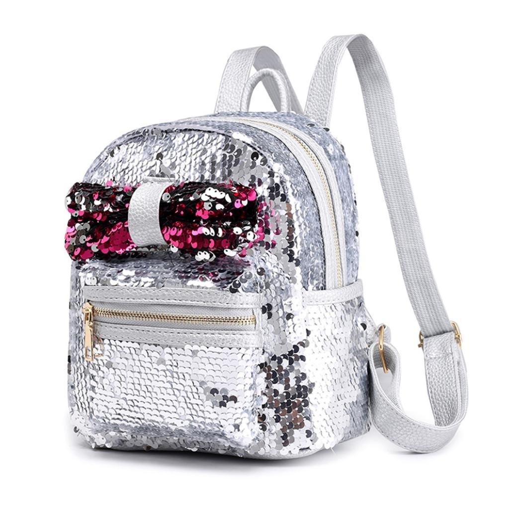 School Bag Backpack,Rakkiss Satchel Women Travel Shoulder Bag Sequins Bow Tie Elegant Ladies School Backpack