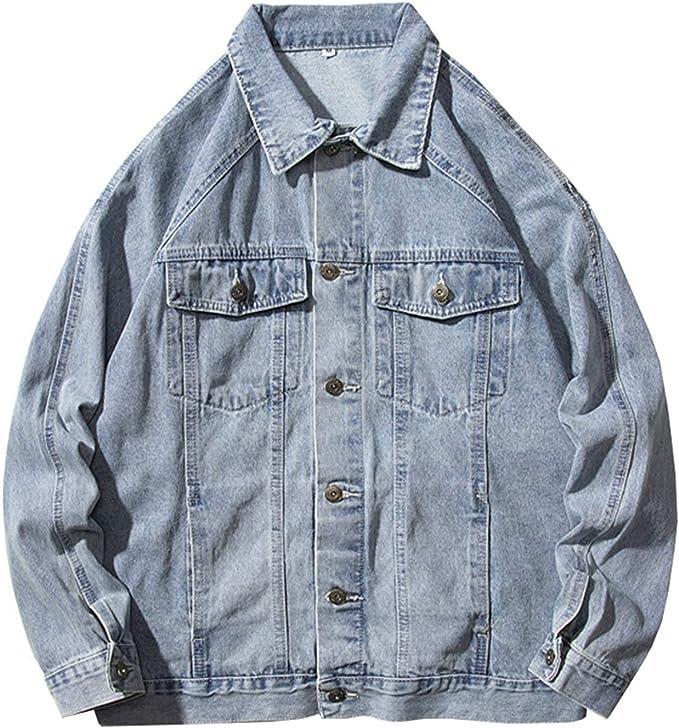 Gジャン デニムコート メンズ ベーシック 無地 春秋 大きいサイズ ストレッチ ゆったり ジージャン ジャケット 防風 防寒 ファッション カッコイイ 合わせやすい ブルー/ブラック M-2XL
