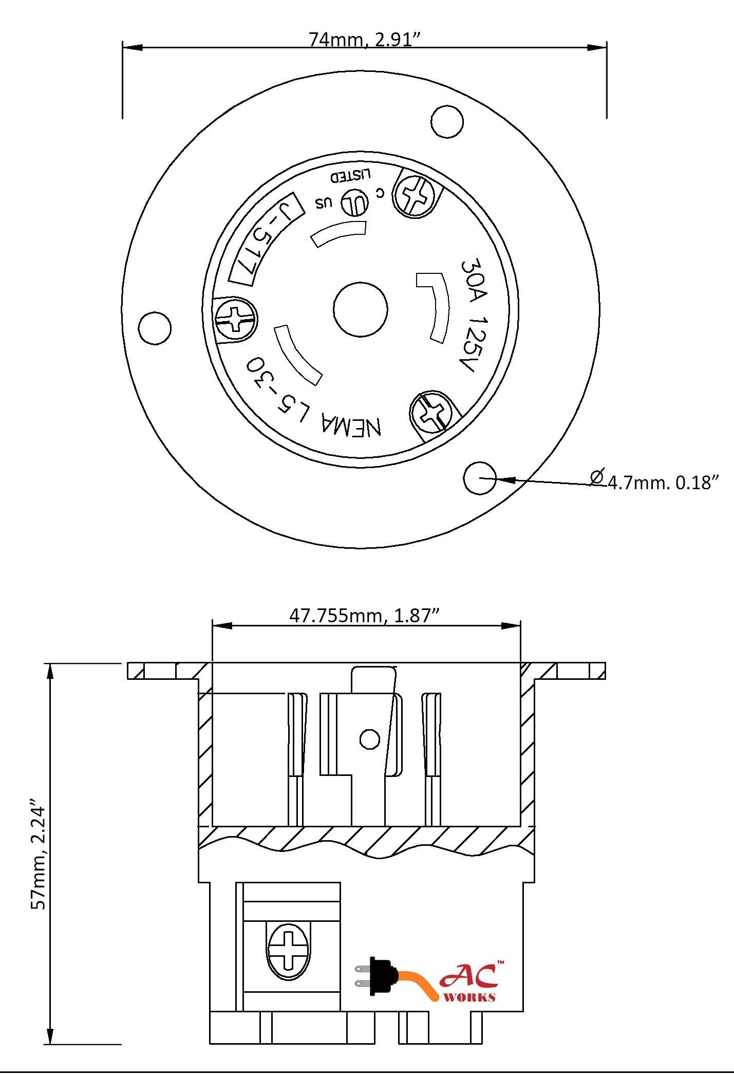 AC WORKS ASINL530P 30-Amp 125-Volt NEMA L5-30P Flanged Power Input Inlet by AC WORKS (Image #3)