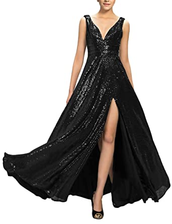 a3b219b55ee OYISHA Womens Sequined Plunging V Neck Sexy Evening Dress Split Formal Gown  SQ43 Black 2