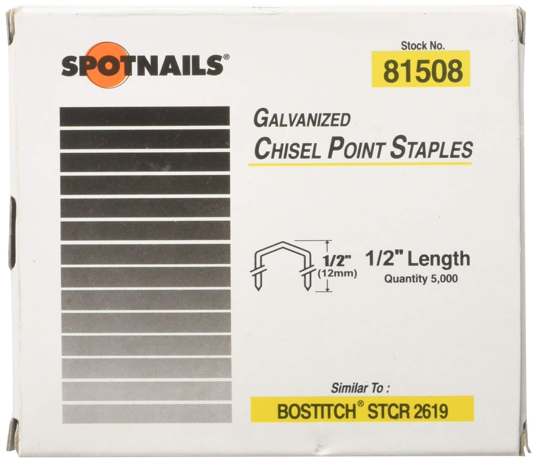 Spot Nails Spot Nails 81508 1/2-inch Staples similar to Bostitch STCR2619 5,000 per Box
