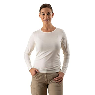 d386e94ef51d3a EDZ Merino Wool Thermal Base Layer Long Sleeve Top Women s Natural White   Amazon.co.uk  Clothing