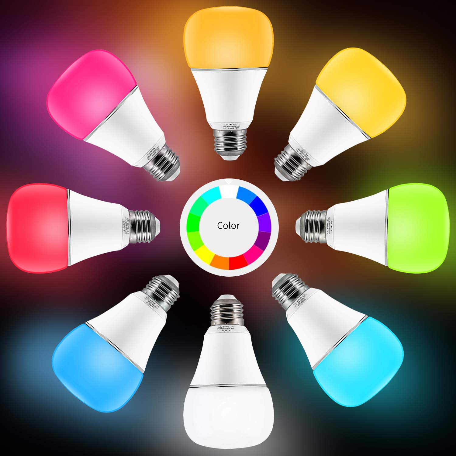 Smart WI-FI LED Light Bulb RGBW Color Changing E26 Base Smart Dimmable Light Bulb Smartphone Controlled Work with Amazon Alexa/ Google Home by LUXON by LUXON (Image #3)