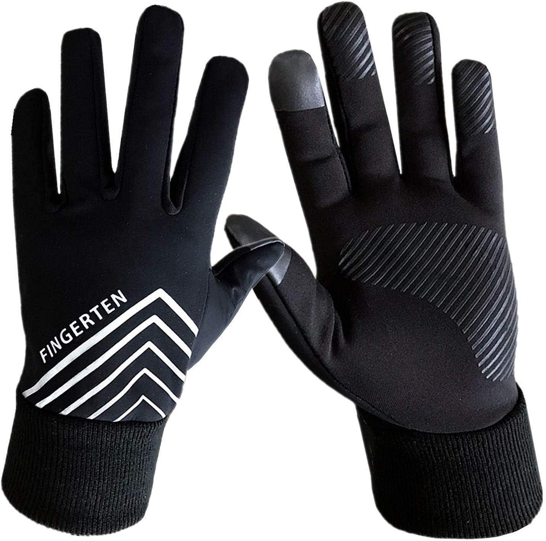 2x Anti Slip Full Finger Gloves Touch Screen Thermal Ski Windproof Mitten Black