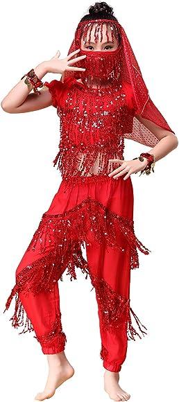 Happy Cherry - Niñas Traje de Danza del Vientre Vestido Borlas de ...