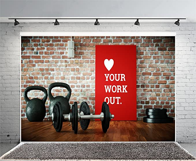 Amazon.com : OFILA Gym Backdrop 5x3ft Dumbbell Sports Equipment Photos Physical Exercise Club Background Gymnasium Coach Vintage Brick Wall Health Exercise ...