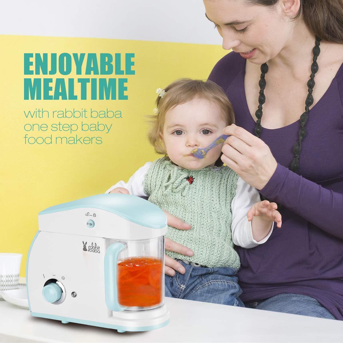 Rabbit baba Baby Food Maker, Dishwasher-Safe Food Processor, Multifunctional Blender, Steamer, Cooker for Baby,Infants and Toddlers Food (Blue)
