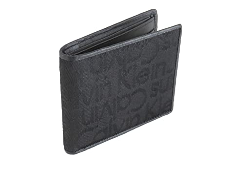 comprare on line 08770 51eb3 Calvin Klein Portafoglio slimfold nero in pelle e tessuto ...