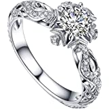 Womens Luxury Vintage Beautiful Diamond Silver Engagement Wedding Band Ring