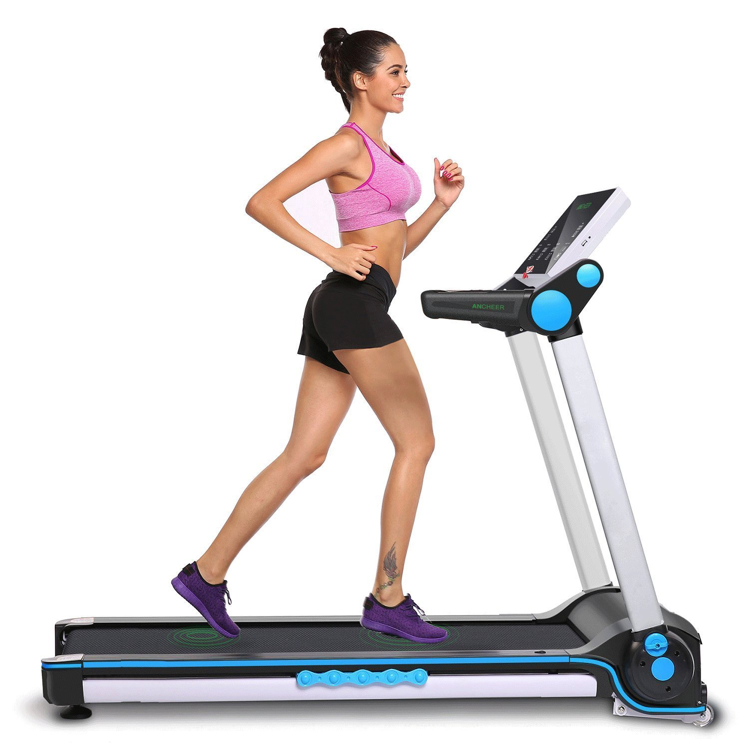 Pesters Folding Portable App Bluetooth Control Health & Fitness Exercise Equipment Electric Walking Running Treadmill machine(US Stock)