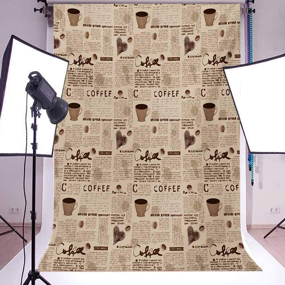 Modern 10x15 FT Backdrop Photographers,Newspaper Nostalgic Background with Coffee Cups and Writing Art Print Background for Photography Kids Adult Photo Booth Video Shoot Vinyl Studio Props