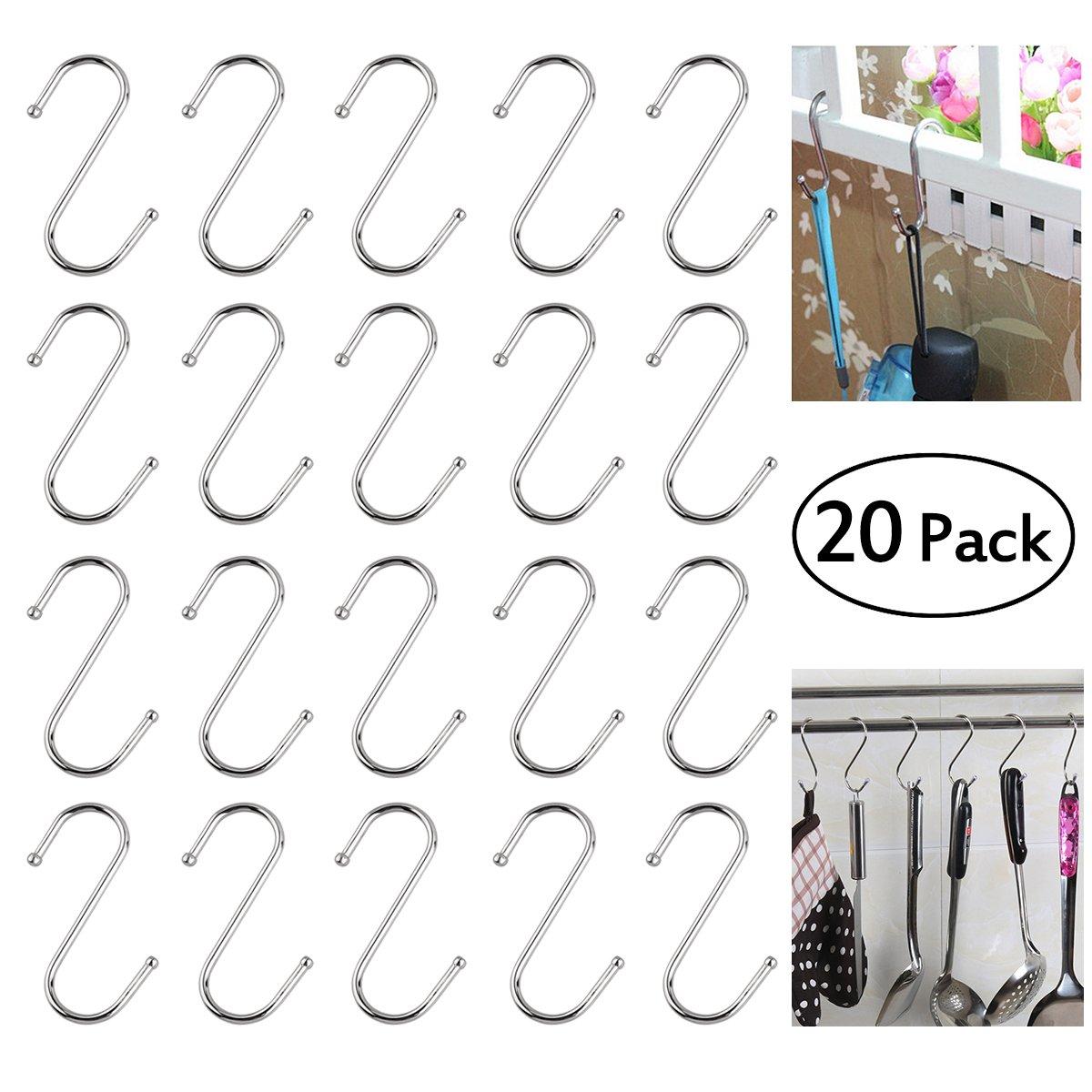 ULTNICE 20pcs Durable S-Shaped Anti-Rust Metal Hangers Metal Hooks Pothooks - Size S (Silver)