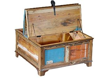 Couchtisch Truhe Vintage Recyceltes Massivholz Antik Truhe Mit