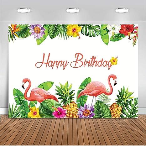 Fiesta de cumpleaños Mehofoto Telón de fondo 7x5ft Flamingo Decoración de fiesta para niños Foto de fondo adulto Flores de colores Fondo de fotografía ...