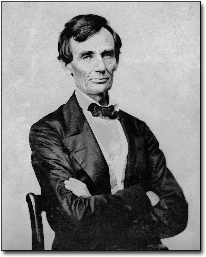 ABRAHAM LINCOLN AS YOUNG BOY READING BOOK 8X10 REAL CANVAS FINE ART PRINT