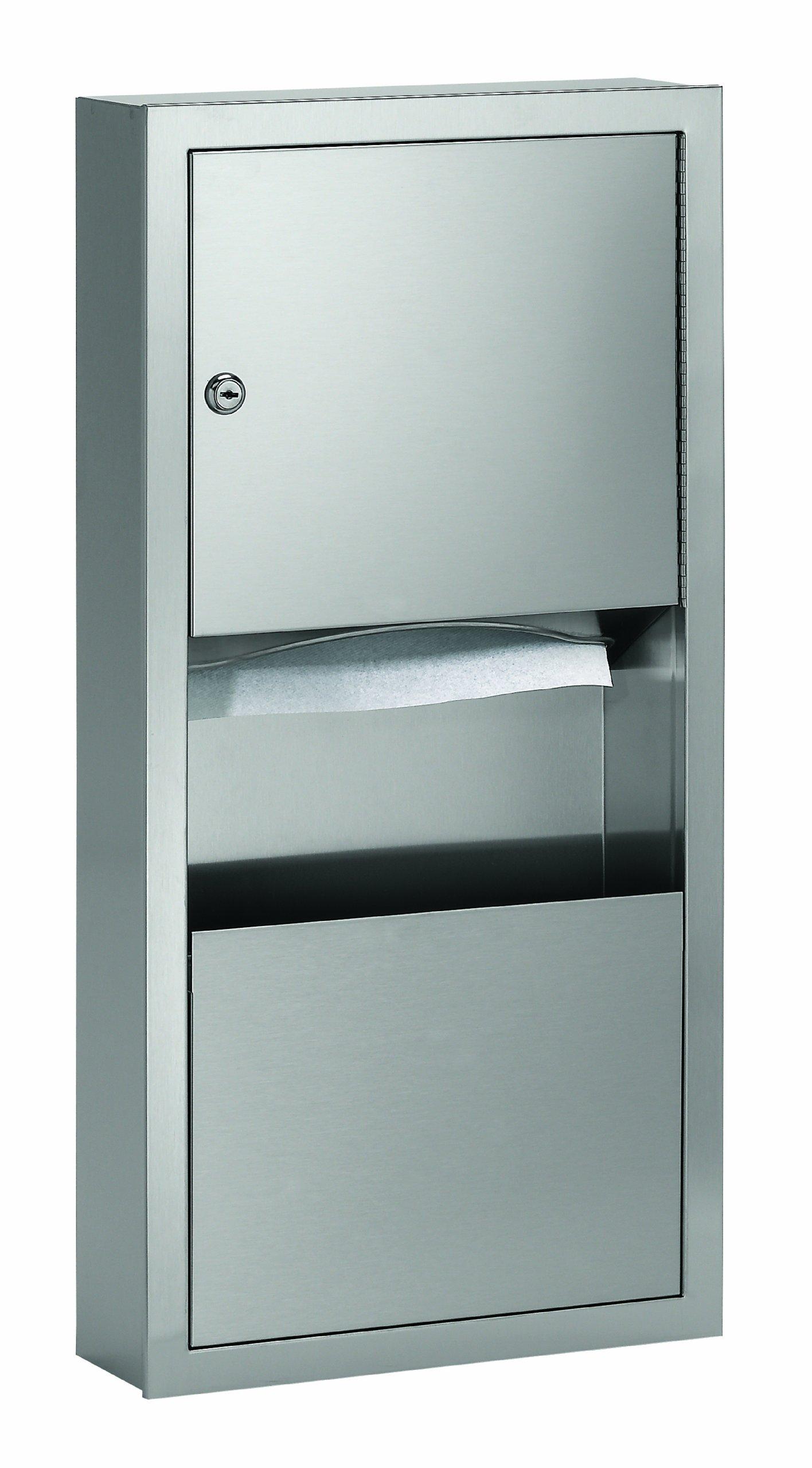 Bradley 2291-110000 Standard Stainless Steel Surface Mounted Towel Dispenser/Waste Receptacle, 14'' Width x 28'' Height x 4'' Depth