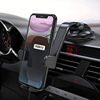 Nulaxy Phone Holder for Car, No Obstruction View Dashboard Windshield Car Phone Mount Strong Suction with Extra Gel Pad…