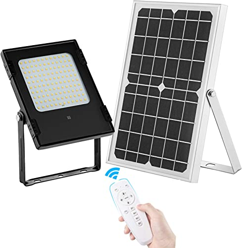 Solar Flood Lights Outdoor Indoor Dusk to Dawn Dual Color Switchable SunBonar 120LED IP67 Waterproof Solar Security Light with Remote Control for Yard Path Pool Patio Shed Barn Garden Garage Driveway