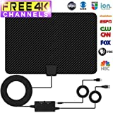 TV Antenna, Indoor Amplified Digtial HDTV Antenna 60 to 80 Mile Range 2018 Newest Advanced Type Switch Console Amplifier Signal Booster, USB Power Supply and 16.5FT High Performance Coax Cable (black)