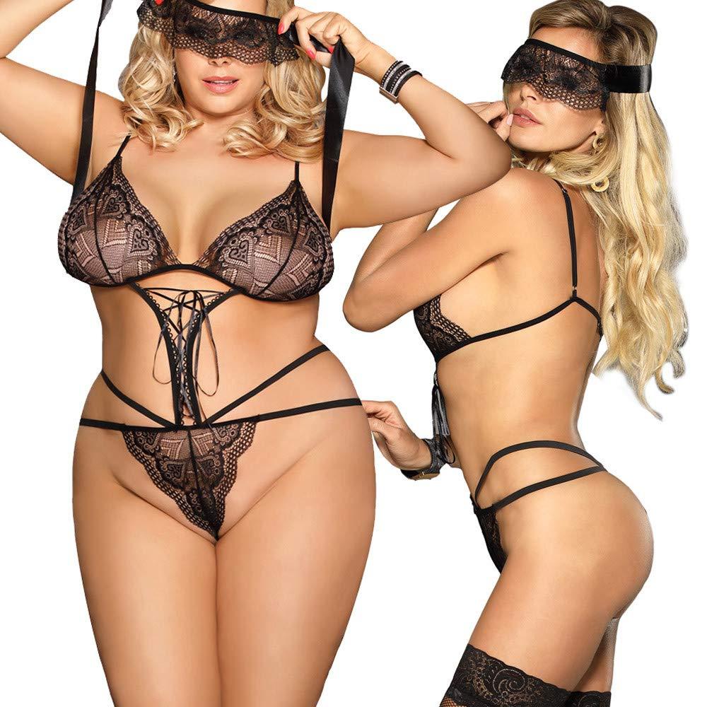 c9d95ded4 Amazon.com  Mnyycxen Women s Halter Plus Size Lace Lingerie Strap Mesh  Stretch Babydoll Chemise with Eye Mask  Clothing
