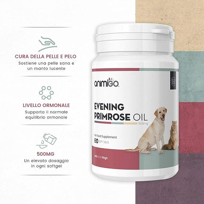 Animigo Aceite de Onagra Cuidado de la Piel y el Pelaje para Gatos y Perros - Ayuda a Mantener Niveles hormonales balanceados - Fuente de ácido linoleico ...