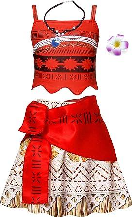 Jurebecia Moana Vestido para niños niñas Vestidos sin Mangas con Collar y Flor cumpleaños Trajes de Fiesta Conjunto: Amazon.es: Ropa y accesorios