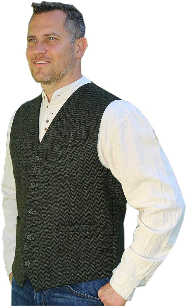 Emerald Isle Tweed Vest for Men, Imported from Ireland, Green