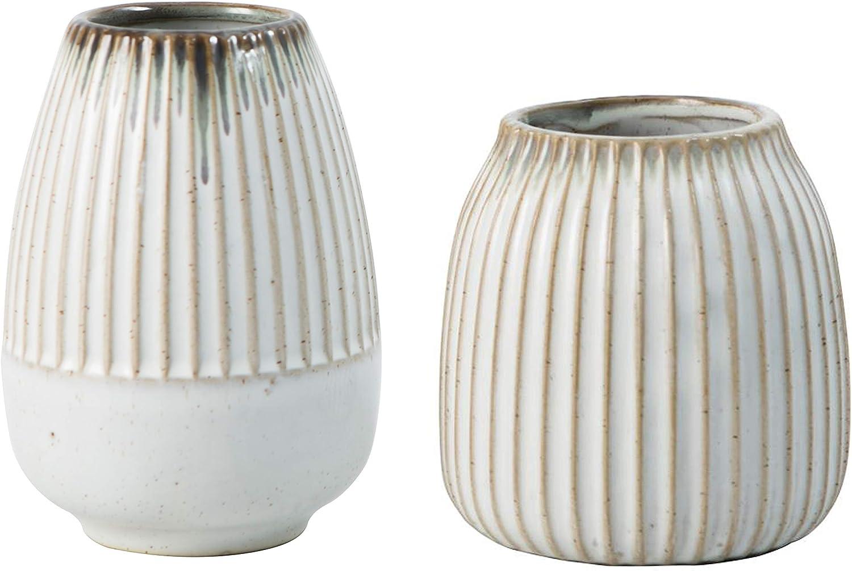 Small White Ceramic Vase Set, Rattan Stripe Bud Vases Home Decor, Great for Decorative, Kitchen, Office or Living Room, (Set of 2 Vases)