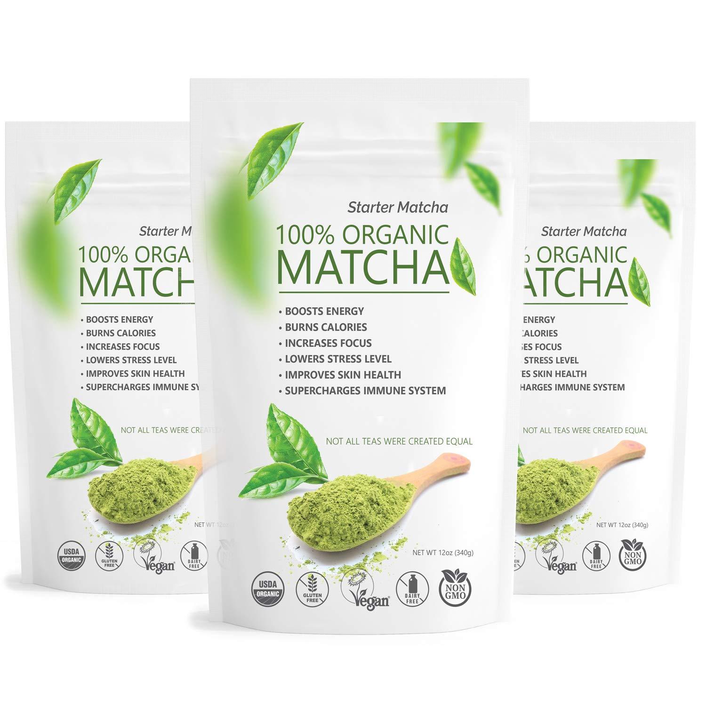 Starter Matcha Green Tea Powder 3x12oz | USDA Organic | Vegan | GMO-Free | Matcha for Baking | Latte | Smoothie | Cookies | Ice Cream by Matchaccino