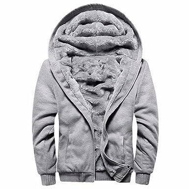 Manluodanni Homme Hiver Chaud Sweats Épaisse Veste à Capuche Doublée Polaire Manteaux Doux Hoodie Blousons Sweat Shirts Manches Longues